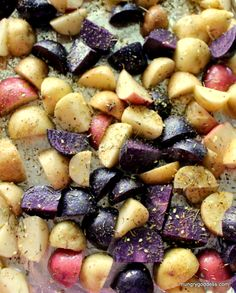 Red, white, and blue potatoes join together for this one-of-a-kind potato salad. Make this #potato #salad #recipe this summer for a change! :)