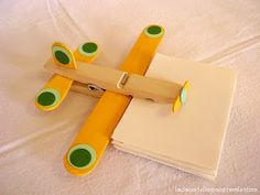 Clothes pin airplanes. This site is not in English, but has a picture of all the supplies you need, and it seems easy enough to me!