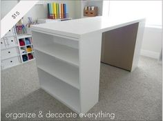 DIY Craft Table; two $15 Walmart bookshelves and sheet of cabinet grade plywood