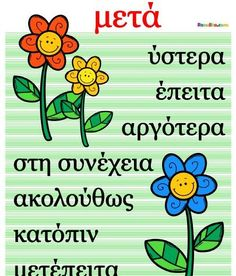 "Συνώνυμα της λέξης ""μετά"" Speech Therapy Activities, Learning Activities, Vocabulary Exercises, Learn Greek, School Organisation, Greek Language, Learning Disabilities, Teaching Writing, Home Schooling"
