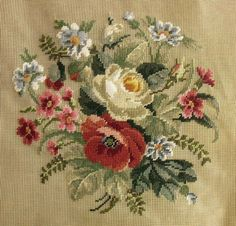 "27x27"" PREWORKED Needlepoint Canvas - COUNTRY SOFT Poppy Bouquet Red Blue BIG"