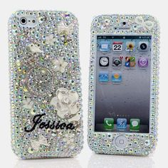 Style # PN_1063 Bling Cases, Handmade 3D crystals diamond ring and white flowers/birds design case for iphone 5, iphone 5s, iphone 6, Samsung Galaxy S4, S5, Note 2, Note 3, Note 4, LG, HTC, Sony – LuxAddiction.com