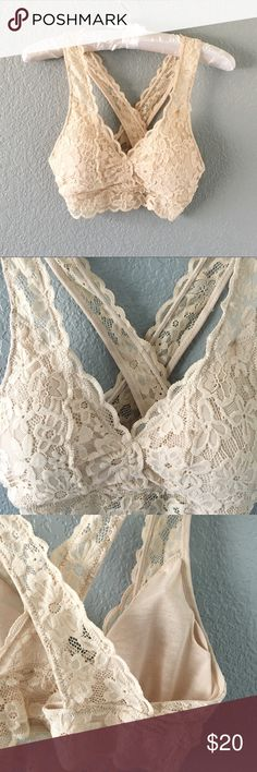 Tan Lace Nude Bralette Sexy and comfortable padded lace bralette! Perfect to wear with dresses, lace up tops (see my closet listings), or could be worn by themselves!   OTHER COLORS LISTED IN MY CLOSET!    SIZES FIT:   Extra Small     32 A Small               32 B/C Medium          34 B/C Large              36 B/C Extra Large     38 B/C  93% Nylon, 7% Spandex  Please ask for measurements if needed! Intimates & Sleepwear Bras
