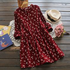 Japanese style long sleeved floral corduroy dress