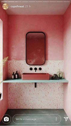 How fab is that colour? Pink bathroom with two tone pink colour block tiles, black tapware and rectangular mirror with rounded edges. Pirate Bathroom Decor, Bathroom Rules, Boho Bathroom, Bathroom Trends, Bathroom Interior, Small Bathroom, Bathroom Ideas, Best Bathroom Paint Colors, Bathrooms Decor