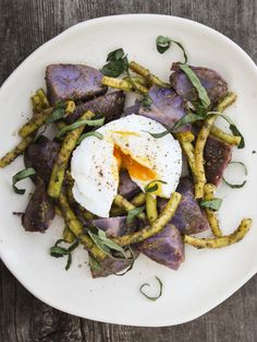 blue potato salad with yellow wax beans poached egg and basil dressing - Dishing Up the Dirt
