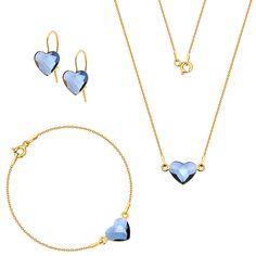 Komplet z serduszkami Swarovski Arrow Necklace, Gold Necklace, Pendant Necklace, Swarovski, Jewelry, Gold Pendant Necklace, Jewlery, Jewerly, Schmuck