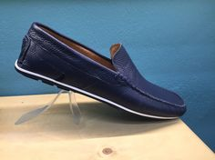 Blue white moccasin made from real leather