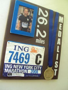 Pretty cool display for my marathon memories.  I like the idea of including a picture of the race marathon memori, half marathons, marathon display