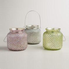 One of my favorite discoveries at WorldMarket.com: Large Hobnail Mercury Glass Tealight Lanterns, Set of 3