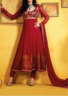 Georgette Anarkali Suit 3p Kurta Chudidar Pant Sheer Dupatta Indian Traditional Party Wear Ethnic Collection Beige Maroon Stitched Set W. $139.95, via Etsy.