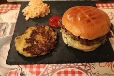Nice - Wazo Brunch My veggie burger with a lentil patty, plus coleslaw and a potato galette too