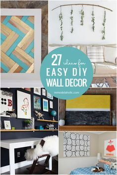 Easy DIY Wall Decor Ideas: Use these affordable and easy DIY wall decor ideas to fill a blank wall on a budget. #remodelaholic Diy Wall Shelves, Diy Wall Art, Diy Wall Decor, Floral Wall Art, Abstract Wall Art, Painting Corkboard, Engineer Prints, Ship Lap Walls, Hallway Decorating