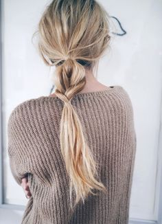 Le Fashion Blog Milan Hair Inspiration Half And Half Wavy Braided Ponytail Brown Textured Knit Via Camilla Pih