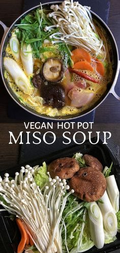 vegan hot pot with miso is a meatless take on a satisfying Japanese winter soup. This vegan nabe chock-full of flavour and wholesome veggies. A comfort food recipe for a sit-down family meal. It's easy to make with gluten-free and soy-free options. Vegan Soups, Vegan Dishes, Soup Recipes, Cooking Recipes, Healthy Recipes, Healthy Food, Healthy Options, Hot Pot Recipes, Veggie Asian Recipes