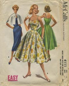 Vintage Sewing Pattern | McCall's 4111 | Year 1957 | Bust 34 | Waist 26 | Hip 36
