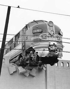 Santa Fe #19L, leading the Super Chief, after smashing through a concrete barrier at Los Angeles Union Station in January 1948