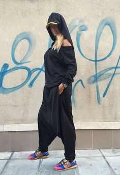 New SS/15 Women Black Jumpsuit  Trousers /  Loose by Silvisport