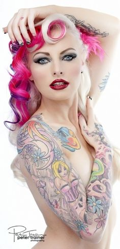 girly hair tattoos, arm tattoos, girl, colors, body tattoos, sleeve tattoos, beauti, pink, hair color