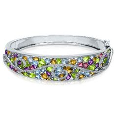 3/8 ct. tw. Diamond & Multi-Gemstone Bangle in Sterling Silver, available at #HelzbergDiamonds