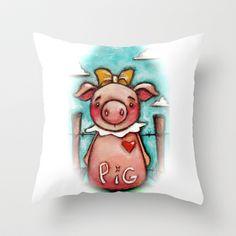 PIG - by Diane Duda Throw Pillow by Diane Duda Art - $20.00 ©dianeduda/dudadaze