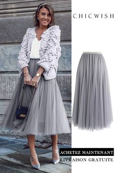 Gray maxi tulle skirt - Outfit ideen - Wedding World Look Fashion, Unique Fashion, Womens Fashion, Male Fashion, Trendy Fashion, Mode Outfits, Skirt Outfits, Tule Skirt Outfit, Grey Tulle Skirt
