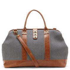 Striped Print Weekender Bag
