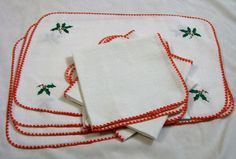A personal favorite from my Etsy shop https://www.etsy.com/listing/484338350/christmas-placemats-and-napkins-vintage