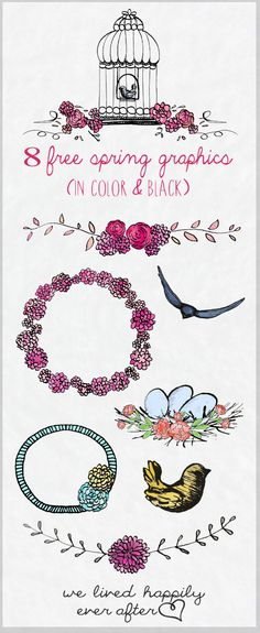 These would be lovely on sprig wedding invitations! Colorful Spring PNG Graphics