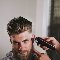 Eyebrow Shaping Discover Blind Barber Hair Clay by Bryce Harper - fl oz Mens Medium Length Hairstyles, Mens Hairstyles With Beard, Bandana Hairstyles, Hair And Beard Styles, Haircuts For Men, Short Hair Styles, Curly Hairstyles, Short Hair And Beard, Pompadour Hairstyle For Men