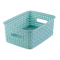 "See Jane Work® Decorative Storage, Small Woven Bin, 10""H x 7 3/10""W x 4""D, Blue. @Office Depot #HomeOffice"
