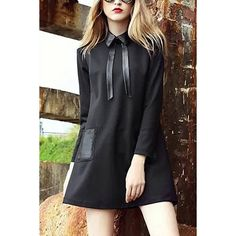 Yoins Yoins Black Self-tie Collar Shirt Dress (220 HRK) ❤ liked on Polyvore featuring dresses