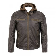 Stylish Leather Jacket With Hood