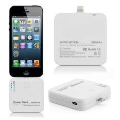 2200mAh External Backup Battery Chargers Power Bank for iPhone 5 - White
