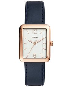Fossil Women's Atwater Blue Leather Strap Watch 28x34mm ES4158 - Watches - Jewelry & Watches - Macy's