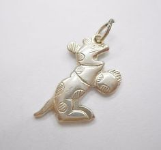 Vintage Genuine 800 Silver Spotted Cartoon Mouse Auka Charm #2908