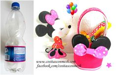 Dulceros de Minnie Mouse con botellas recicladas ~ cositasconmesh