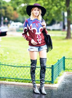 Western-inspired vibe by accessorizing a printed sweater with over-the-knee boots and a chic hat. // #StreetStyle