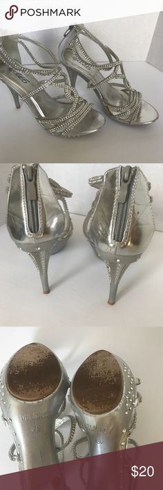 "Women's bling heels Women's size 8 1/2 , very bling 4"" heel, great for special occasion, zip back, worn once (on gravel) small glue coloring on insole see picture not noticeable when worn. delicacy Shoes Heels"