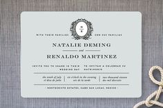 Endure Wedding Invitations | elegant modern new traditional wedding invitation with monogram