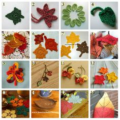 "motleydays: "" Celebrate & Decorate with these free crochet patterns: Ivy Leaf, from Julie Chen, on Ravelry. Maple Leaf, from Mr. McCawber's Recipe for Happiness. Two-minute Leaf, from Living. Picot Crochet, Crochet Puff Flower, Crochet Wreath, Crochet Video, Crochet Fall, Knitted Flowers, Halloween Crochet, Holiday Crochet, Knit Or Crochet"