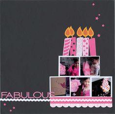Birthday page scrapbook layout