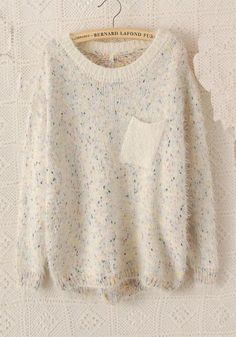 ++ beige polka dot round neck bat sleeve sweater
