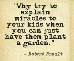 """One of my all-time favourite quotes - """"Why try to explain miracles to your kids when you can just have them plant a garden."""" Roberts Brault"""