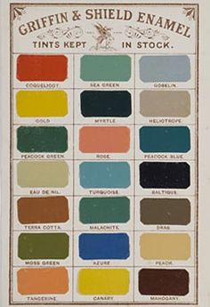 Samples of Griffin & Shield enamel paint from a catalogue for the firm Sissons Brothers & Co, c.1880-1910