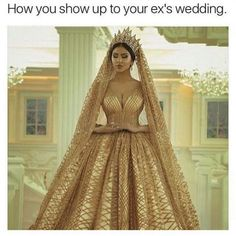 Cute but in all honesty i wouldnt show up at my ex wedding at all. Once you're out my like you're out for good. Showing up just proves you're weak and would just look stupid cause at the end the other girl still won since its her wedding  think outside the box