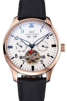 Mens Replica IWC Pilot Tourbillon White Dial Rose Gold Case And Bezel Watch With Black Textile Strap
