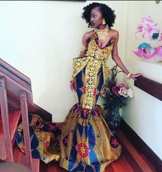 Kente dress By Diyanu African Prom Dresses, African Wedding Dress, African Fashion Dresses, Fashion Outfits, Ankara Gowns, Ghanaian Fashion, Men's Fashion, African Outfits, Fashion Ideas