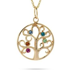 Custom 5 Birthstone Gold Vermeil Family Tree Pendant | Eve's Addiction, $50