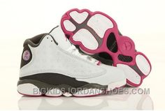 huge discount 3b87b 1595c Online Nike Air Jordan 13 Kids White Grey Pink New Arrival